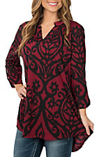 James C Women's Burgundy & Black 3/4 Sleeve Fashion Shirt