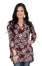 James C Women's Maroon Paisley 3/4 Sleeve Fashion Shirt