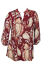 James C Women's Rust Floral Scroll Print 3/4 Sleeve Fashion Shirt - Plus Size