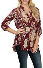 James C Women's Rust Floral Scroll Print 3/4 Sleeve Fashion Shirt