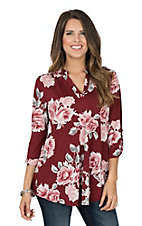 James C Women's Maroon Floral 3/4 Sleeve Fashion Shirt