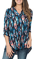 James C Women's Navy and Teal Feather Print Fashion Shirt