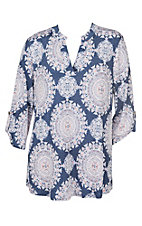 James C Women's Denim & Pink Medallion Print 3/4 Sleeve Fashion Shirt - Plus Size