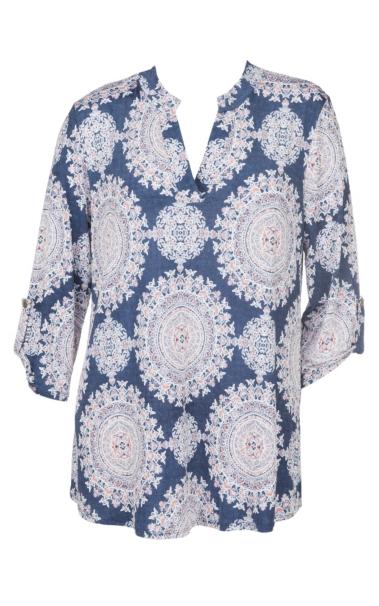 James C Women's Denim & Pink Medallion Print 3/4 Sleeve Fashion Shirt - Plus Size hot sale