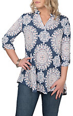 James C Women's Denim & Pink Medallion Print 3/4 Sleeve Fashion Shirt