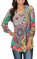 James C Women's Medallion Print 3/4 Sleeves Fashion Top