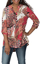 James C Women's Oink Large Paisley Print 3/4 Sleeve Fashion Shirt