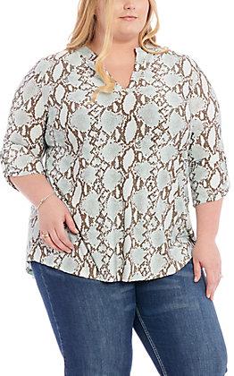James C Women's Mint & Brown Snake Print Fashion Top - Plus Size