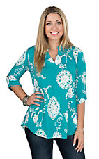 James C Women's Mint Scroll 3/4 Sleeve V-Neck Fashion Top