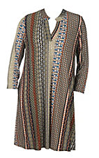 James C Women's Olive and Rust Vertical Print Long Sleeve Dress - Plus Size