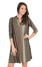 James C Women's Olive and Rust Vertical Print Long Sleeve Dress
