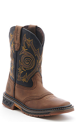 Georgia Kids Carbo-Tec Brown and Black Wide Square Toe Work Boot