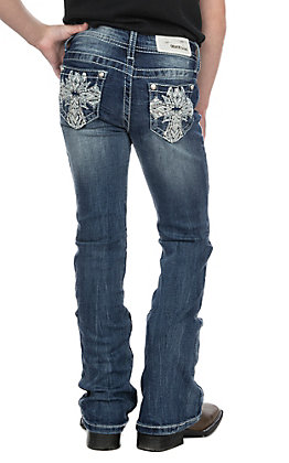 Grace in LA Girls Cross Open Pocket Boot Cut Jeans