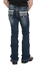 Grace in LA Girls Bling Aztec Embroidery Easy Fit Boot Cut Jeans
