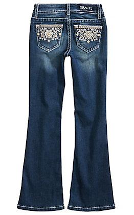 Grace in L.A. Girls' Aztec Embellished Pocket Boot Cut Jeans