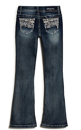Grace in LA Girl's Medium Wash with Rose Gold & White Aztec Embroidery Relaxed Fit Boot Cut Jean