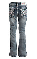 Grace in LA Girl's Medium Wash with Colorful Zig Zag Embroidery Open Pocket Boot Cut Jeans