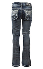 Grace in LA Girl's Dark Wash with Silver Aztec Embroidery Open Pocket Boot Cut Jeans