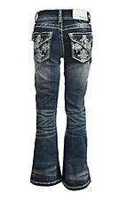 Grace in LA Girl's Dark Wash with Cross Embroidery Fake Flap Open Pocket Boot Cut Jeans