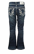 Grace in LA Girl's Dark Wash with Studded Silver Swirl Embroidery Open Pocket Boot Cut Jeans