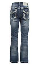 Grace in LA Girl's Medium Distressed Wash with Blue and White Embroidery and Fake Flap Open Pocket Boot Cut Jeans