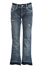 Grace in LA Girl's Medium Distressed Wash with Blue Swirl Embroidery Open Pocket Boot Cut Jeans