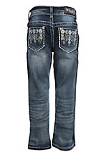 Grace in LA Girl's Light Wash Aztec Pocket Boot Cut Jeans
