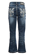 Grace in LA Girl's Dark Wash Cross with Crystals on Open Pockets Boot Cut Jeans