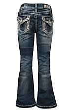 Grace in LA Girls' Tan Stitched Embroidered w/ Sequins Boot Cut Jeans