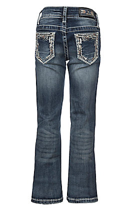 Grace in LA Girls Feathered Edge Stitching Boot Cut Jeans