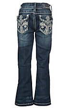Grace in LA Girls' Cross Pocket Dark Wash Boot Cut Jeans