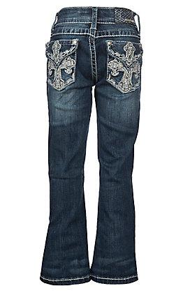Grace in LA Girls' Cross Pocket Dark Wash Boot Cut Jeans