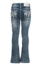 Grace in LA Girls Feather Dream Catcher Pocket Boot Cut Jeans