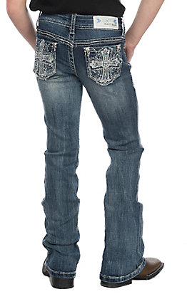 Grace in LA Girls Distressed White Embroidered Cross Boot Cut Jeans