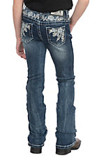Grace in LA Girls Floral Embroidered Open Pocket Boot Cut Jeans
