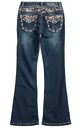 Grace in L.A. Girls' Sequin Pocket & Waist Boot Cut Jeans