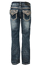 Grace in LA Girl's Medium Wash with Pick Stitch Embroidery, Sequins & Rhinestones Flap Pocket Boot Cut Jean