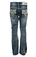 Grace in LA Girl's Dark Wash with Sequin Swirl Design Boot Cut Jean