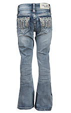 Grace in LA Girl's Light Wash with Colorful Aztec Design Boot Cut Jean