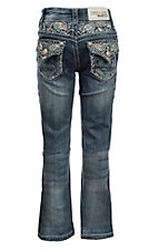 Grace in LA Girl's Medium Wash with Blue and Orange Sequin Paisley Design Flap Pocket Boot Cut Jeans
