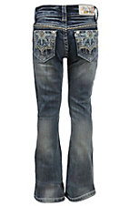 Grace in LA Girl's Medium Wash with Flower Star Embroidery Rhinestone Design Boot Cut Jean