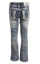 Grace in LA Girl's Medium Wash with Colorful Floral Print Open Pocket Boot Cut Jeans