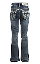 Grace in LA Girl's Dark Wash with Sequin and Rhinestone Swirl on Fake Flap Open Back Pocket Boot Cut Jeans