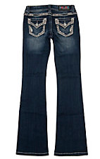 Grace in LA Girl's Dark Wash Spring Embroidered with Rhinestones Flap Pocket Boot Cut Jean