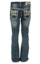 Grace in LA Girl's Medium Wash with Leather Paisley & Crystals Design Boot Cut Jean