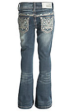 Grace in LA Girl's Medium Wash with Blue Tribal Feathers Design Boot Cut Jean