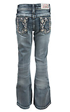 Grace in LA Girl's Light Wash with Colorful Floral Embroidery Design Boot Cut Jean