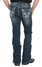 Grace in LA Girls Cross Faux Flap Pocket Boot Cut Jeans