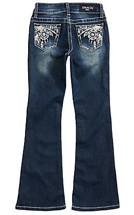 Grace in LA Girls Dreamcatcher Dark Wash Boot Cut Jeans (7-16)