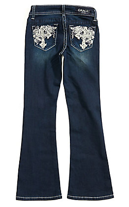 Grace in L.A. Girls' Dark Wash Cross with Floral Embroidery Boot Cut Jeans (7-16)